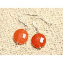 Boucles d'Oreilles Argent 925 et Pierre - Jade Orange Palets Facettés 14mm