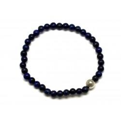 Bracelet Pierre semi précieuse Lapis Lazuli 4mm et Perle argentée