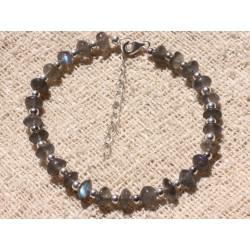 Bracelet Argent 925 et Perles de Pierre Labradorite Rondelles 6mm