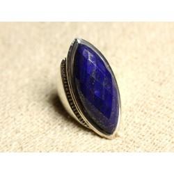 N348 - Bague Argent 925 Lapis Lazuli facetté Marquise 34x14mm