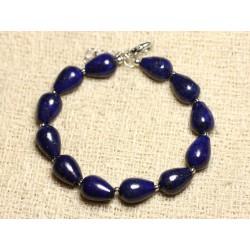 Bracelet Argent 925 et Pierre - Lapis Lazuli Gouttes 12mm