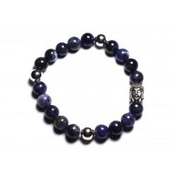 Bracelet Bouddha et Pierre semi précieuse - Sodalite 8mm
