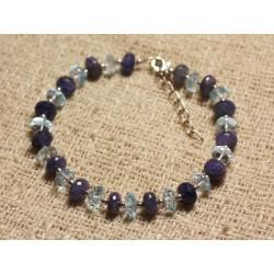 Bracelet Argent 925 et Perles de Pierre Tanzanite Topaze Bleue Facettées 3-7mm
