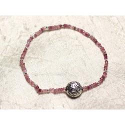 Bracelet Argent 925 et Pierre - Tourmaline Rose rondelles facettées 3x2mm
