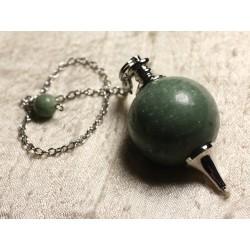 Pendule Métal Argenté Rhodium et Pierre semi précieuse - Jade Verte Boule 30mm