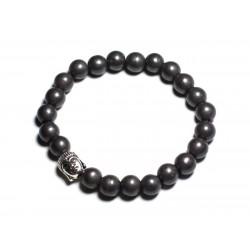 Bracelet Bouddha et Pierre semi précieuse - Hématite mat