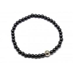 Bracelet Pierre semi précieuse Hématite 4mm et Perle argentée