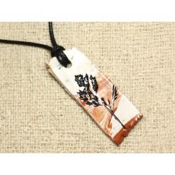 Collier Pendentif Céramique Empreintes Feuilles Nature Rectangle 53mm