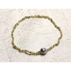 Bracelet Argent 925 et Pierre - Diamant Jaune Brut 1-2mm