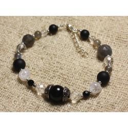 Bracelet Argent 925 et Perles de Pierre Onyx, Labradorite, Cristal 4-10mm