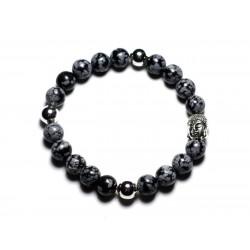 Bracelet Bouddha et Pierre semi précieuse - Obsidienne Flocon Mouchetée 8mm