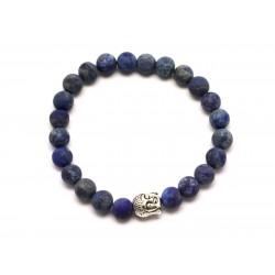 Bracelet Bouddha et Pierre semi précieuse - Lapis Lazuli Mat givré 8mm