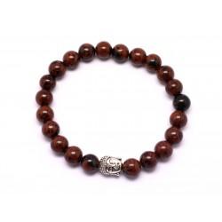 Bracelet Bouddha et Pierre semi précieuse - Obsidienne Acajou Mahogany 8mm