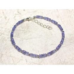 Bracelet Argent 925 et Pierre - Tanzanite rondelles facettées 3x2mm