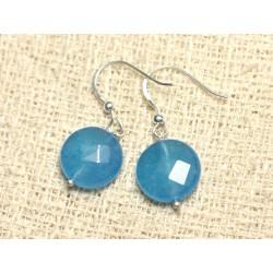Boucles d'Oreilles Argent 925 et Pierre - Jade Bleue Palets Facettés 14mm