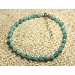 Bracelet Argent 925 et Pierre - Jade Turquoise 4mm