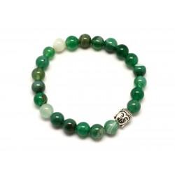 Bracelet Bouddha et Pierre semi précieuse - Agate Verte 8mm