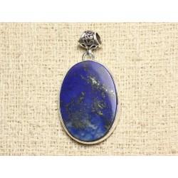 N35 - Pendentif Argent 925 et Pierre - Lapis Lazuli Ovale 34x24mm