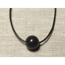 Collier Pendentif Pierre semi précieuse - Obsidienne noire Boule 14mm