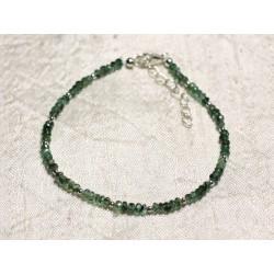 Bracelet Argent 925 et Pierre - Emeraude Zambie rondelles facettées 3mm