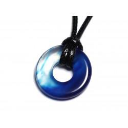 Collier Pendentif en Pierre - Agate Bleue Donut Pi 20mm