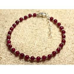 Bracelet Argent 925 et Pierre - Jade Rouge Rose Framboise 4mm