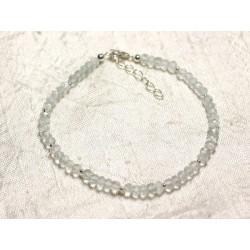 Bracelet Argent 925 et Pierre - Améthyste verte Prasiolite rondelles facettées 3mm