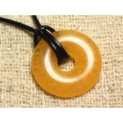 Collier Pendentif en Pierre - Calcite Jaune Donut 30mm