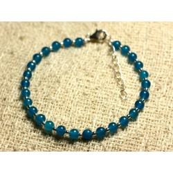 Bracelet Argent 925 et Pierre - Jade Bleue 4mm