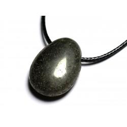 Collier Pendentif Pierre semi précieuse - Pyrite Goutte 25mm