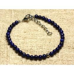 Bracelet Argent 925 et Pierre semi précieuse Lapis Lazuli 4mm