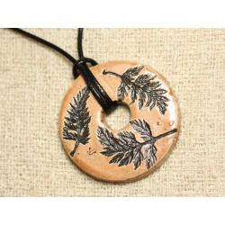 Collier Pendentif Céramique Empreintes Feuilles Nature Donut 46mm