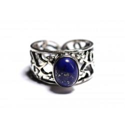 N224 - Bague Argent 925 et Pierre semi précieuse - Lapis Lazuli 9x7mm