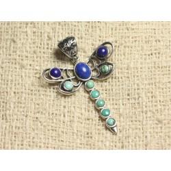 Pendentif Libellule 43mm Argent 925 et Pierres - Turquoise Naturelle et Lapis Lazuli