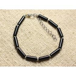 Bracelet Argent 925 et Pierre - Onyx Noir Tubes 13mm