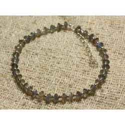 Bracelet Argent 925 et Perles de Pierre Labradorite Rondelles 4-5mm
