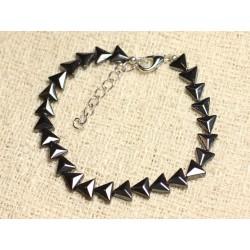 Bracelet Argent 925 et Pierre - Hématite Triangles 6mm