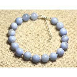 Bracelet Argent 925 et Pierre semi précieuse - Agate Bleu clair 8mm