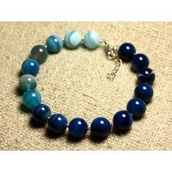 Bracelet Argent 925 et Pierre semi précieuse - Agate Bleue10mm