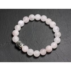 Bracelet Bouddha et Pierre semi précieuse - Quartz rose mat
