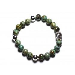 Bracelet Bouddha et Pierre semi précieuse - Turquoise Africaine 8mm