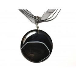 N7 - Collier Pendentif en Pierre - Agate noire et blanche rond 47mm