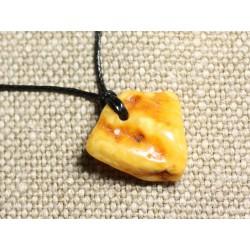 Collier Pendentif en Ambre naturelle 26mm N1
