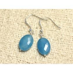 Boucles d'Oreilles Argent 925 et Pierre - Jade Bleue Ovales Facettés 14mm