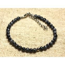 Bracelet Argent 925 et Pierre semi précieuse Obsidienne Flocon 4mm
