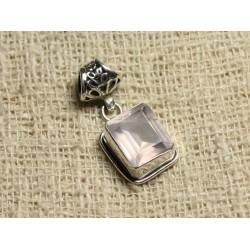 Pendentif Argent 925 et Pierre - Quartz Rose Facetté Rectangle 12x10mm