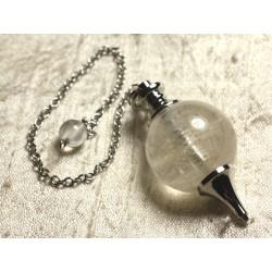 Pendule Métal Argenté Rhodium et Pierre semi précieuse - Cristal de Roche Quartz Boule 25mm