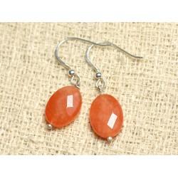 Boucles d'Oreilles Argent 925 et Pierre - Jade Orange Ovales Facettés 14mm