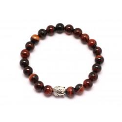 Bracelet Bouddha et Pierre semi précieuse - Agate Rouge et Noire 8mm