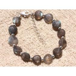 Bracelet Argent 925 et Perles de Pierre Labradorite Palets 10mm